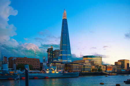 shard of glass: LONDON, UK - AUGUST 11, 2014: Shard of glass in night lights, view from the Tower bridge Editorial