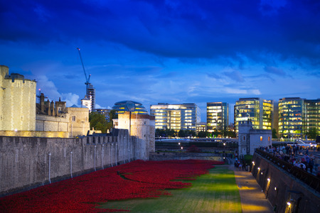 ancient prison: LONDON, UK - August 11, 2014: Tower of London, ancient fortress and prison in twilight Editorial