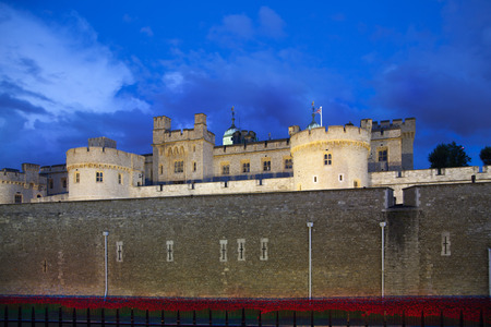dungeons: LONDON, UK - August 11, 2014: Tower of London, ancient fortress and prison in twilight Editorial