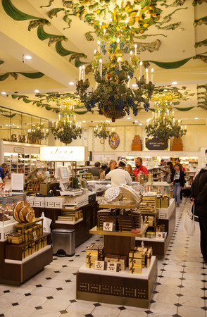 harrods: LONDON, UK - AUGUST 16, 2014: Harrods interiors with products display, sweets department