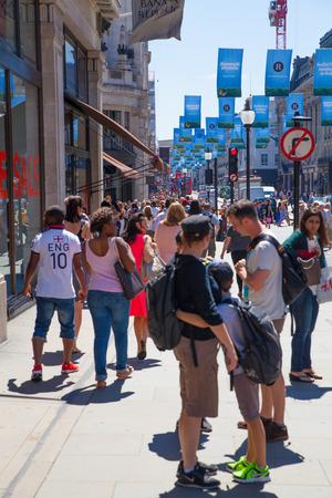 LONDON, UK - JULY 29, 2014: Regent street in London, tourists