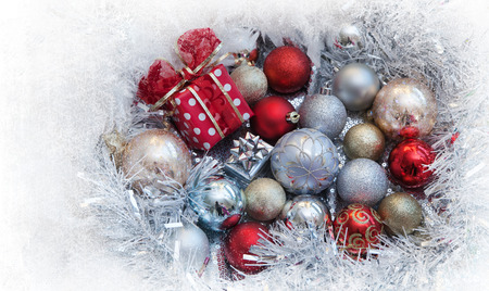 Christmas background with present box and balls photo