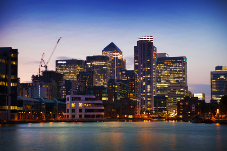 Canary Wharf business district in dusk Stock Photo