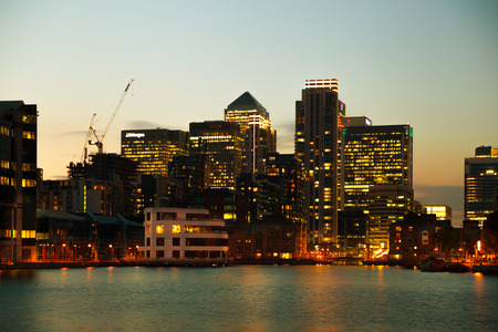 Canary Wharf business district in dusk photo