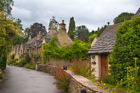 english village: Castle Combe, unique old English village Stock Photo