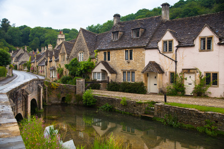 Castle Combe, unique old English village Stok Fotoğraf