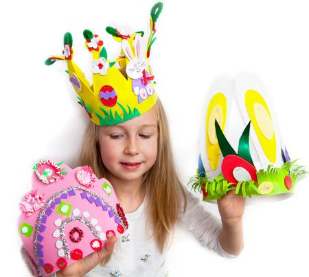 bunny girl: Little girl demonstrating her cruft works, Easter bonnets