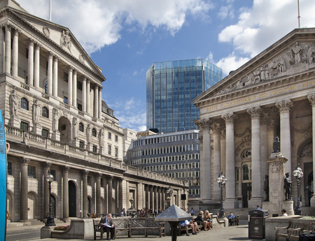 bank building: LONDON, UK - JUNE 30, 2014: Bank of England. Square and underground station Editorial