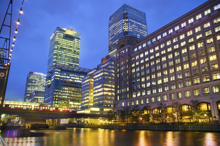 LONDON, UK - JUNE 14, 2014: Canary Wharf at dusk, Famous skyscrapers of London\\\\\\\\