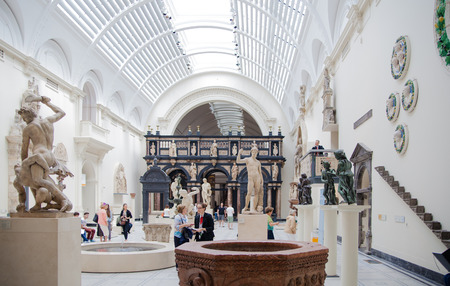 great hall: LONDON, UK - AUGUST 24, 2014: Exhibition hall of Victoria and Albert Museum. V&A Museum is the world\