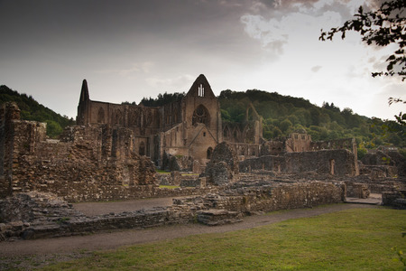 established: WALES, UK - 26 JULY 2014: Tintern abbey cathedral ruins. Abbey was established at 1131. Destroyed by Henry VIII. Famous as Welsh ruins from 17the century. Editorial