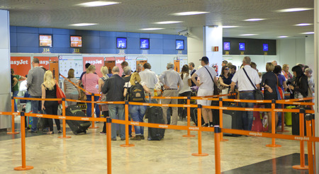 barajas: MADRID, SPAIN - MAY 28, 2014: Interior of Madrid airport, departure waiting aria