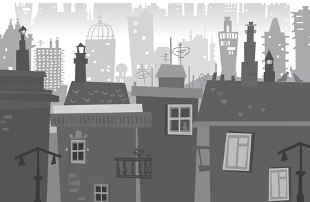building lot: City background with a lots of buildings Illustration