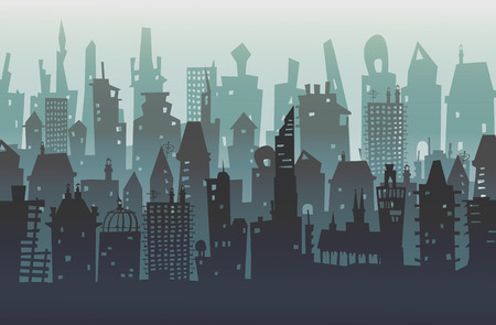 City background with a lots of buildings Illustration