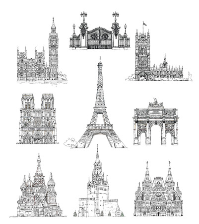 red square moscow: Famous buildings, sketch collection. Paris Notre Dame, Big Ben and houses of parliament, Gate, Red square Moscow and etc