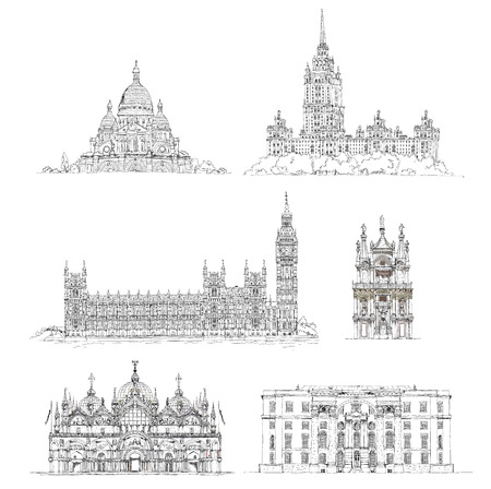 sacred heart: Famous buildings, sketch collection. Paris Sacred Heart in Montmartre, Big Ben and houses of parliament, Greenwich, hotel Ukraine in Moscow, Venice court and etc Stock Photo