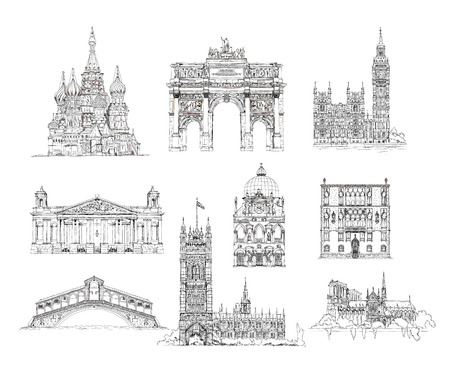 Famous buildings, sketch collection, St. Vasil cathedral in Moscow, Sketch of Eiffel Tower, Triumph Arch in Paris, Big Ben in London, Venice bridge of all lovers and other
