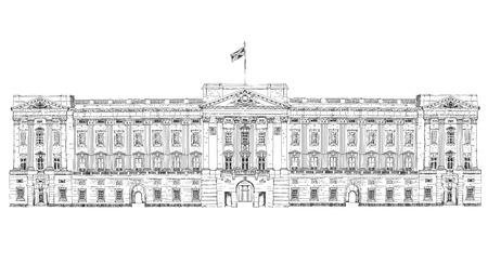유명한 건물의 스케치 컬렉션입니다. 런던 버킹엄 궁전 스톡 콘텐츠