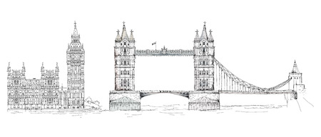 houses of parliament london: Sketch collection of famous buildings. London, Tower bridge, Big Ben Stock Photo