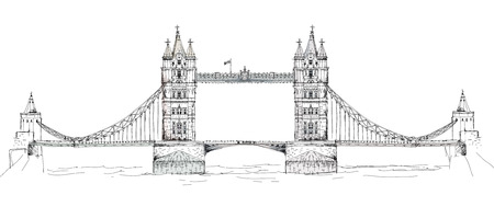 houses of parliament london: Sketch collection of famous buildings. London, Tower bridge Stock Photo