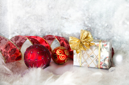 Christmas background with present box photo