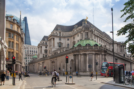 listed buildings: LONDON, UK - JUNE 30, 2014: Bank of England. Square and underground station LONDON, UK - JUNE 30, 2014: Bank of England. Square and underground station