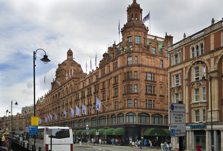 harrods: LONDON, UK - JUNE 3, 2014: Harrods department store, shopping and restaurants tourists point. Harrods was opened at 1849