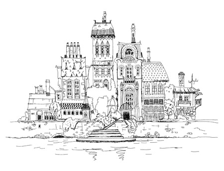 City street on the river side, sketch photo