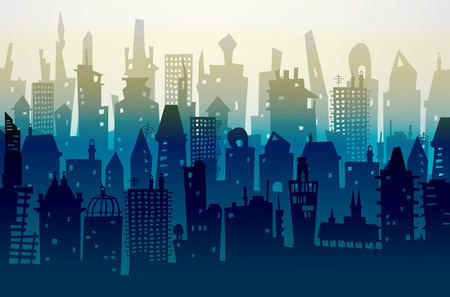 tall buildings: City background made of different building silhouettes