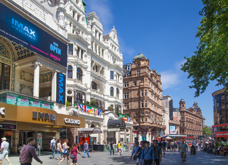 vue: LONDON, UK - SEPTEMBER 30, 2014: Leicester square, popular place with cinemas, cafes and restaurants