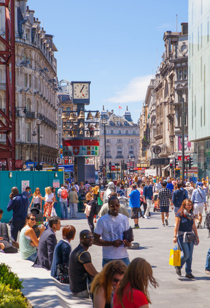 westend show: LONDON, UK - SEPTEMBER 30, 2014: Leicester square, popular place with cinemas, cafes and restaurants