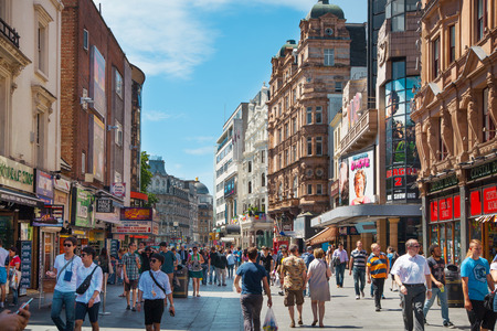 westend: LONDON, UK - SEPTEMBER 30, 2014: Leicester square, popular place with cinemas, cafes and restaurants
