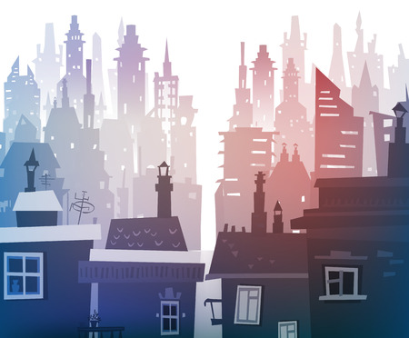 commercial construction: City background Illustration