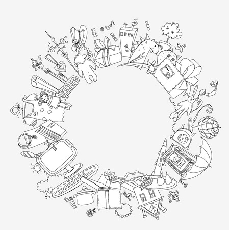 Presents and toys doodle, Kids dreams Vector
