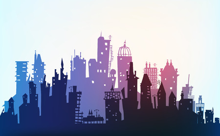 City made of different building silhouettes photo