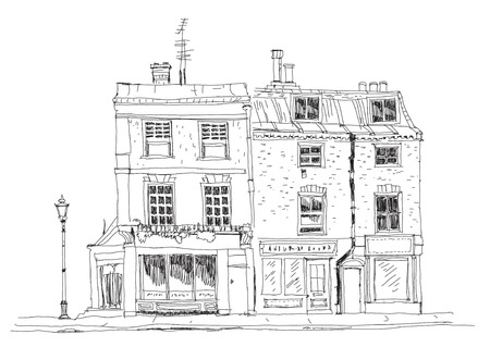 building sketch: Old English town houses with shops on the ground floor. Sketch collection of famous buildings Stock Photo