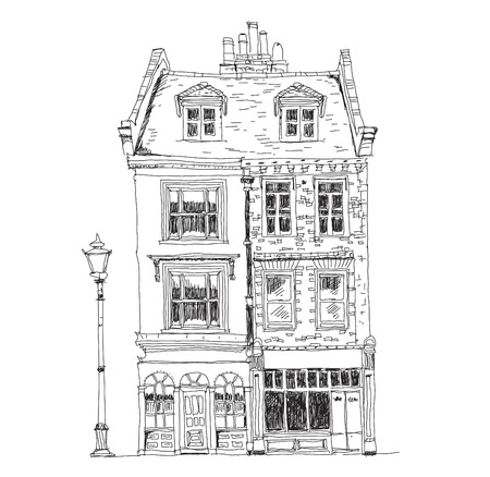 Old English town houses with shops on the ground floor. Sketch collection of famous buildings Stock Photo