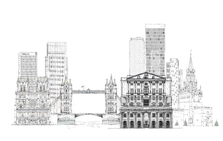 canary wharf: Famous buildings of the world, Sketch on Canary Wharf, Bank of England, Tower bridge in London and other Stock Photo