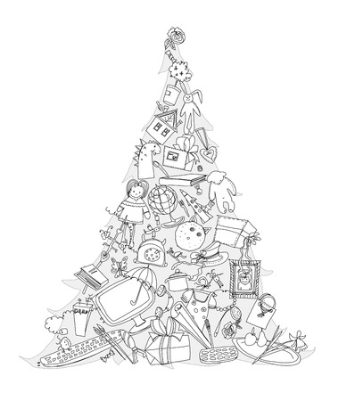 Christmas tree made of presents and toys. Doodle photo