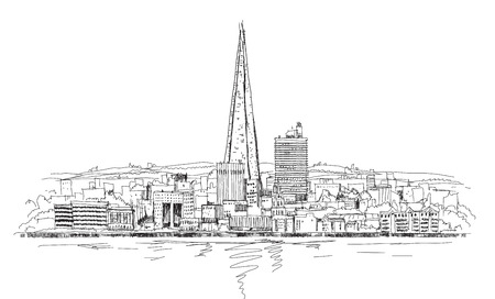 shard of glass: London panoramic view and Shard of glass building, Sketch collection Stock Photo