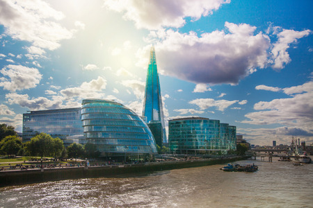 shard of glass: LONDON, UK - AUGUST 16, 2014: Shard of glass, Modern London architecture, South bank walk.