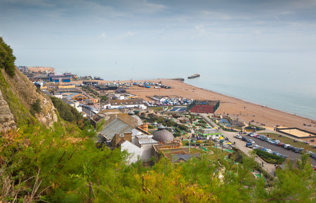 east coast: HASTINGS, UK - SEPTEMBER 27, 2014: Town view from the castles mounting