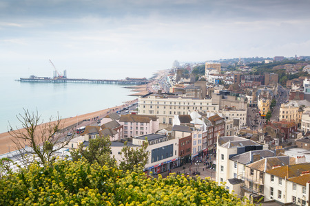 hastings: HASTINGS, UK - SEPTEMBER 27, 2014: Town view from the castles mounting
