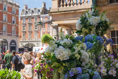 covent garden market: LONDON, UK - 22 JULY, 2014: Flower shop in Covent Garden market