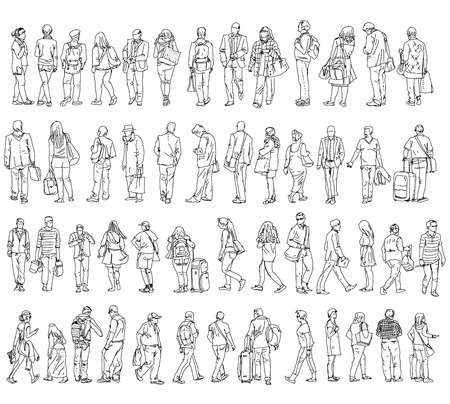 suit case: Silhouettes of walking people, caring bags, talking on the phone etc. Sketch collection
