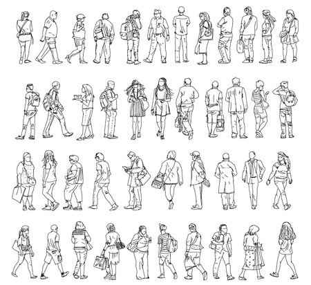 Silhouettes of walking people, caring bags, talking on the phone etc. Sketch collection Imagens - 33165621