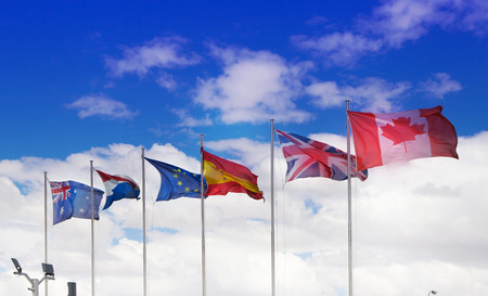 MADRID, SPAIN - July 22, 2014: International flags in Madrid city, business centre