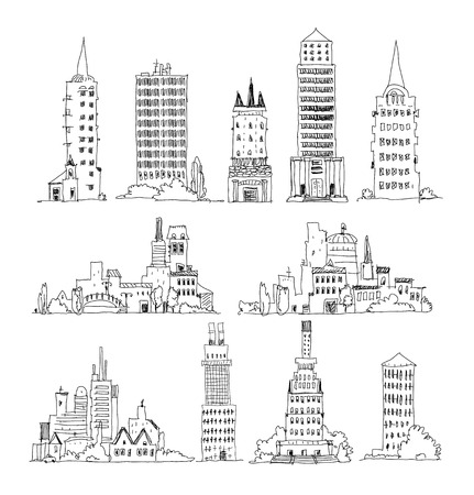 Business office buildings set, Sketch collection
