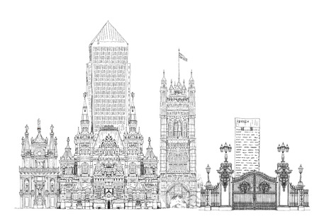 canary wharf: Famous buildings of the world, Sketch on Canary Wharf, Buckingham palace gate, Parliament tower inLondon, Moscow history museum, Venice court and other