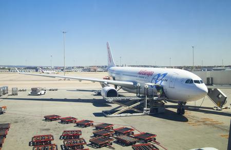 barajas: MADRID, SPAIN - MAY 28, 2014:  Madrid airport, departure waiting aria